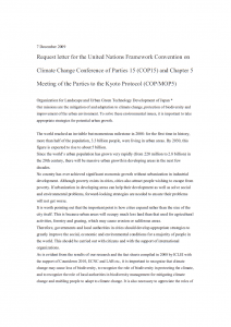 Request letter for the United Nations Framework Convention on Climate Change Conference of Parties 15 (COP15) and Chapter 5 Meeting of the Parties to the Kyoto Protocol (COP/MOP5)